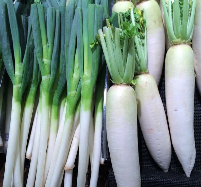大根などの日本の食材